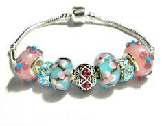 european bead Bracelet blue pink charms PB814   | egrobeck - Jewelry on ArtFire