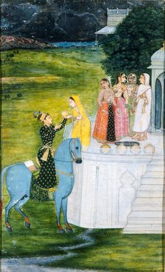 """""""An Encounter at the Well. Rajasthani Painting, Rajasthani Art, Pichwai Paintings, Mughal Paintings, Vintage Paintings, Abstract Paintings, Arte Krishna, Mughal Miniature Paintings, Nepal"""