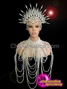 Diva Showgirl/'s Delicate Ribbon Tie Gothic Draped Shimmering Pearl Necklace