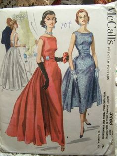 McCalls 3466 Misses Formal Dress in Two Lengths Sewing Pattern, Vintage 1955 Prom, Party, Wedding Dress Evening Dress Patterns, Vintage Dress Patterns, Clothing Patterns, 1940s Evening Dresses, 1950s Dresses, Vintage Mode, Vintage Gowns, Vintage Outfits, Mode Hollywood