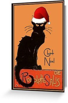 #LeChatNoel #GreetingCard by taiche   Redbubble Uncoated blank interior. #ATSocialMedia @redbubble #findyourthing Available on: #tshirts #pillows #mugs #stickers #notebooks #bags #duvetcovers #cases #backpacks #skins #sleeves #clocks #posters
