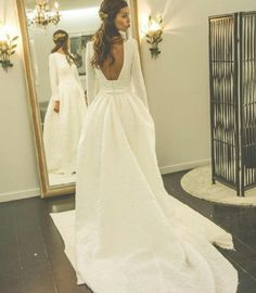 Long Sleeves Open Back Simple Free Custom Handmade Wedding Dress, Elegant Prom Dress, WD0250 #curtysfavs #thefutureaccordingtocurty