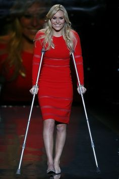 Lindsey Vonn in Cynthia Rowley on the Heart Truth Red Dress Collection runway.