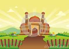 Illustration about Mosque with beautiful natural scenery - cartoon design, beautiful view, pretty and funny. Illustration of domes, calm, grass - 77006800 Islamic Cartoon, Natural Scenery, Cartoon Design, Mosque, Muslim, Diana, Beautiful Places, Calm, Wallpaper