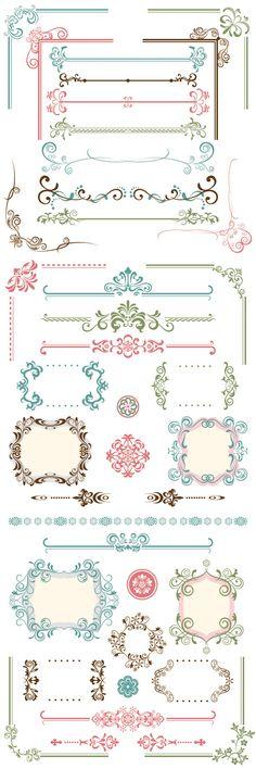 エレガントで美しいフレーム、飾り枠、飾り罫、コーナー詰め合わせ - Free-Style