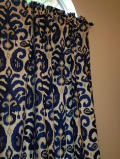 2 Beautiful Curtain Panels Suburban Rasul Ikat Blue 50W X 96L Royal Navy And Tan