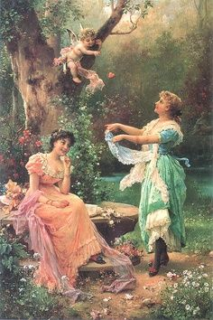 """""""Cupid*s Toss"""" by Hans Zatzka Austria.Today, Hans Zatzka paintings are sought-after by collectors as are his postcards. It is unknown exactly when Hans Zatzka died but it is thought to have been either in 1945 or Victorian Paintings, Victorian Art, Vintage Illustration, Renaissance Kunst, Angel Images, Oil Painting Reproductions, Classical Art, Art Plastique, Beautiful Paintings"""