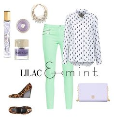 """""""#lilac #mint"""" by makeupbymichelleh on Polyvore featuring French Connection, AERIN, Smith & Cult, Benefit, Tory Burch, Lulu Frost, colorchallenge and lilacandmint"""