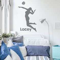 Volleyball Wall Decal  Personalized Vinyl Decor For Girls Bedroom or Playroom  Sports Decorations -- Check this awesome product by going to the link at the image. (This is an affiliate link and I receive a commission for the sales) #KidsRoomDecor