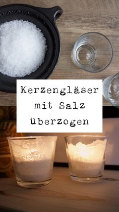 For the dark season: make candle glasses with salt coating yourself. - For the dark season: make candle glasses with salt coating yourself. It& simple: fill a glass - Fun Crafts, Diy And Crafts, Bedroom Plants Decor, Winter Coffee, Beautiful Soup, Winter Project, Diy Shops, Sombre, Winter House