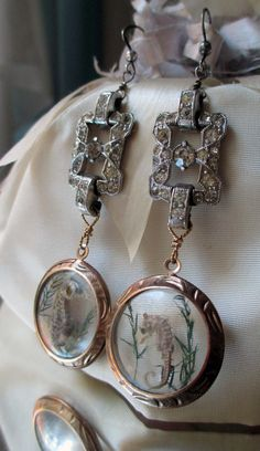 sea creatures vintage assemblage earrings with by TheFrenchCircus