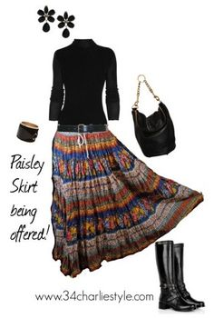 Fall vintage skirt paisley with black boots