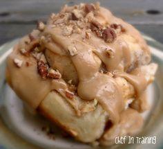 Apple Cinnamon Rolls with Caramel Frosting.  Breakfast Dessert!