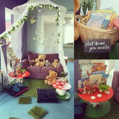 - Jennifer's reading garden with a gorgeous teddy toadstool! Reading Corner Classroom, Classroom Setting, Classroom Design, Classroom Decor, Book Corner Eyfs, Year 1 Classroom Layout, Reception Classroom Ideas, Forest Classroom, Reading Display