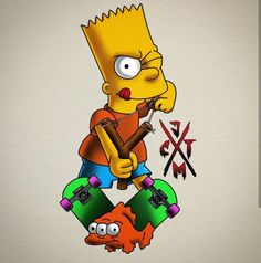 Bart, The Simpsons Bart Simpson Drawing, Simpson Wave, Simpsons Drawings, Simpsons Art, Black Cartoon Characters, Cartoon Art, Mickey Mouse Drawings, Alice In Wonderland Characters, Custom Clothing Design