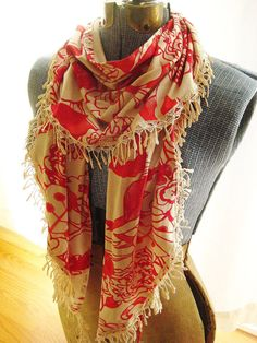 """Red and Cafe Jersey Knit Fashion Scarf with TeaDyed by ElizaAndRo, $36.00 ( 2 yds x 11"""" by Elizaandro (etsy)"""