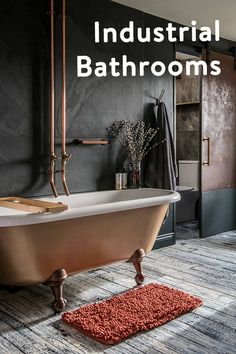 Exposed pipework, limewash walls and dark interiors are common trends for industrial bathrooms. Industrial Bathroom Design, Industrial Interior Design, Bathroom Interior Design, Industrial Style, Black Wall Tiles, Black Walls, Bathroom Trends, Bathroom Ideas, Bathroom Inspo