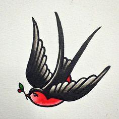 Tatuagem old school, traditional swallow tattoo, traditional tattoo old Retro Tattoos, Trendy Tattoos, Love Tattoos, Body Art Tattoos, Tattoo Old School, Old School Ink, Old School Tattoo Designs, Swallow Tattoo Design, Swallow Bird Tattoos