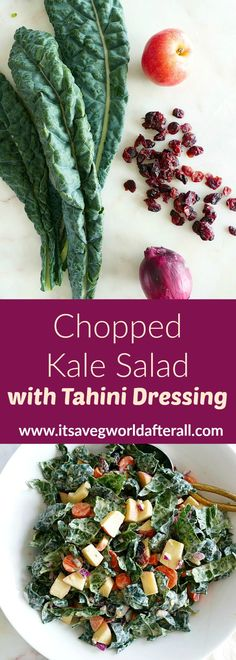 This Chopped Kale Salad with Tahini Dressing is a delicious vegan kale salad recipe, featuring lacinato (dinosaur) kale, apples, carrots, red onions, and dried cranberries. It's finished with creamy lemon tahini dressing that perfectly complements bitter kale. #kalesalad #vegansalads #holidaysalad Kale Salad Recipes, Healthy Vegetable Recipes, Vegetable Side Dishes, Dinosaur Kale, Making Kale Chips, Tahini Recipe, Lemon Tahini Dressing, It's Finished, Winter Vegetables