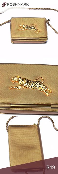 """Vintage Purse Handbag Gold Cheetah Leopard  purse Beautiful well made purse measures   9"""" wide  7"""" long 2 1/2"""" depth  23"""" long tuckaway chain for clutch wear. 3 pockets inside with clean interior American Vintage Bags Clutches & Wristlets"""