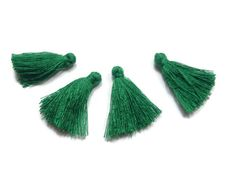5 Pieces Tiny Forest GreenTassels  Cotton Tassels  by FoxyBeadsCo