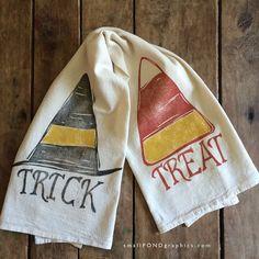 Trick or Treat Flour Sack Towel  Halloween Tea by itsasmallpond