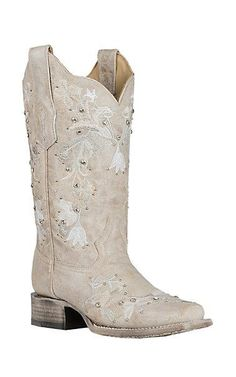 266fd08d66b Corral Women s White w  Floral Embroidery and Crystals Wedding Western  Square Toe Boots