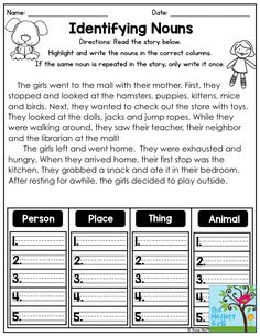 Identifying Nouns- Read the short story, highlight the nouns and decide if they are a person, place, thing or animal. Nouns And Verbs Worksheets, Proper Nouns Worksheet, Adjective Worksheet, Nouns And Adjectives, First Grade Worksheets, Phonics Worksheets, English Grammar For Kids, English Worksheets For Kids, Learn English Words