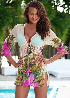 Peacock Tunic from VENUS women's swimwear and sexy clothing. Order Peacock Tunic for women from the online catalog or Sexy Outfits, Summer Outfits, Cute Outfits, Fashion Outfits, Womens Fashion, Beach Dresses, Sexy Dresses, Swimsuit Cover Ups, Swim Cover