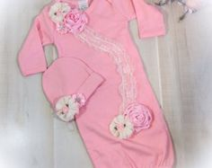 Newborn Girl Take Home Outfit Pink Gray Layette by PoshBabyBlooms
