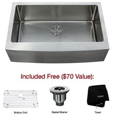"""$419.95 with %5 discount through Oct. 3rd.  View the Kraus KHF200-33 33"""" Farmhouse Single Bowl 16 Gauge Stainless Steel Kitchen Sink at FaucetDirect.com."""