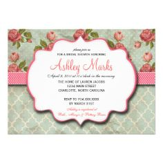 Blue and Pink Shabby Chic Vintage Shower invite