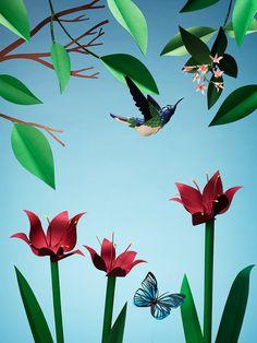 Amazing paper-cut sculptures by Fideli Sundqvist Paper Leaves, Paper Flowers, Collages, Paper Fruit, Bird Art, Color Blocking, Colour Block, Paper Cutting, Illusions