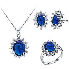 FLORAY Damen Elegant Blue Saphir Anhänger-Halskette und Ohrringe und Ringe Schmuck-Set, Sonnenblume oder ovalen Form, mit Klare, transparente Zirkonia, Vergoldet, Sterling Silber Kette. Kostenlose blaue Schmuck-Box, Schönes Geschenk. Anhänger: 1.4 * 2.3 cm, Ohrringe: 1.2 * 1.4 cm, Ringe: 1.4 * 1.6 cm, http://www.amazon.de/dp/B00N5FX4NC/ref=cm_sw_r_pi_awdl_fWl6vb0Q0YKMB