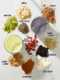 Superfoods That Make the Best Smoothie Ingredients Superfoods List: 10 Top Superfoods to Add to Smoothies Superfood Salad, Superfood Recipes, Smoothie Recipes, Healthy Recipes, Healthy Breakfasts, Shake Recipes, Best Smoothie, Good Smoothies, Fruit Smoothies