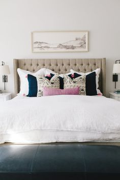 Mapleton New Build Master Bedroom - House of Jade Interiors Blog (tufted headboard, art above bed, sconces)