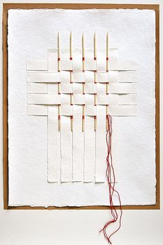 paper home nº 6 -by ersi marina samara.  A unique and beautiful art gift. White on white paper art. Woven paper, embroidery thread, collage.