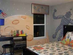 Child's outer space room. My own kids are too old for this. But my Fantasy Home has lots of guest bedrooms and I can dedicate one to my grandsons!