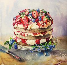 Клубничный десерт для акварельного флеш - моба от @cartel.watercolorists #cartel_watercolorist #cw_marathon #watercolor #cake #cake #strawberry #art #painting #artist #artwork #illustration #drawing #myart #artshow #arts_gallery #study #paper #artstagram #arts_help #topcreator #instaart #графика #рисую #этюд #sketch Размер 28 х 30 Бумага Fabriano, 25% cotone, плотность 300