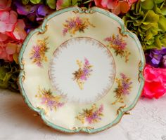 Beautiful Antique Limoges Porcelain Plate ~ Lilac Floral ~ Gold
