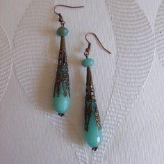 Boucles d'oreille bronze gouttes jade