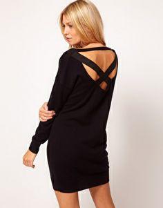 Image 1 of ASOS Sweater Dress With Elastic Cross Back  http://us.asos.com/ASOS-Sweater-Dress-With-Elastic-Cross-Back/10959v/?iid=2373491=2637=0=5=36=-1=Black=L0FTT1MvQVNPUy1KdW1wZXItRHJlc3MtV2l0aC1FbGFzdGljLUNyb3NzLUJhY2svUHJvZC8.
