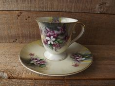 Vintage Teacup and Saucer Purple Flowers by purplepansyvintage