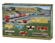 "This popular Santa Fe train set comes with a powered EMD F9 diesel locomotive with operating headlight, unpowered A unit F9 diesel locomotive, single dome tank car, refrigerator car, covered hopper, plug door box car, flat car with containers, off center caboose, 34"" x 24"" oval of nickel silver EZ Track, 12 telephone poles, 24 railroad and street signs, power pack and speed controller, and illustrated instruction manual. Get yours @ http://www.livelocomotion.com/product/BAC24008 for $180.00"