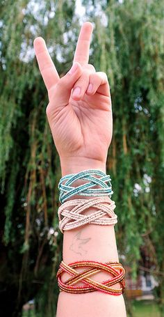 Woven Bead Cuffs Red White and Blue  www.citybuddha.com