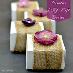 Burlap & Floral Rustic DIY Gift Boxes