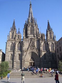 Saint Cross and St. Eulalie Cathedral (catalan: Catedral de la Santa Creu i Santa Eulàlia) in Barcelona (Spain) Built from the 13th to the 15th centuries CE, the Cathedral is located in the ancient Barri Gotic (the Gothic District) in Barcelona downtown