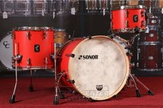Sonor SQ1 3pc Drum Set 20/12/14 Hot Rod Red w/ Natural Hoops