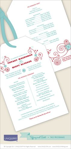UNIQLOVE custom wedding programs