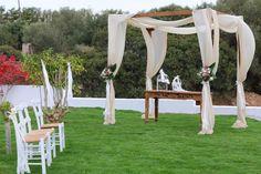 Kim & Daz Wedding by the sea side at Vasia Ormos Hotel Sea Side, Arch, Outdoor Structures, Weddings, Garden, Longbow, Garten, Wedding, Lawn And Garden